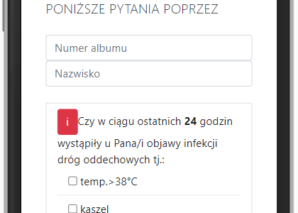 Ankieta epidemiologiczna dla studentów Uniwersytetu Szczecińskiego